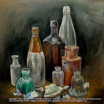 Plein air oil painting of still life of archaeological relics from the Carleton United Brewery site being demolished,  painted by industrial heritage artist Jane Bennett