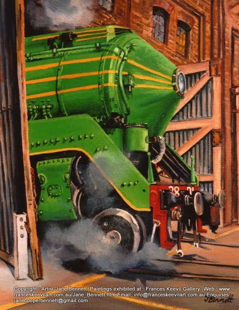 oil painting  of steam train 3801 in Eveleigh Railway Workshops by artist Jane Bennett