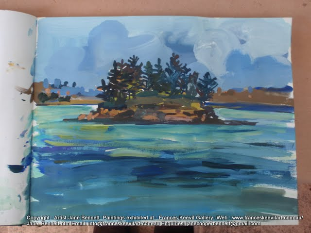 watercolour painting of Shark Island Sydney Harbour by artist Jane Bennett