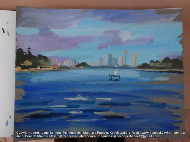watercolour painting of  Sydney Harbour by artist Jane Bennett