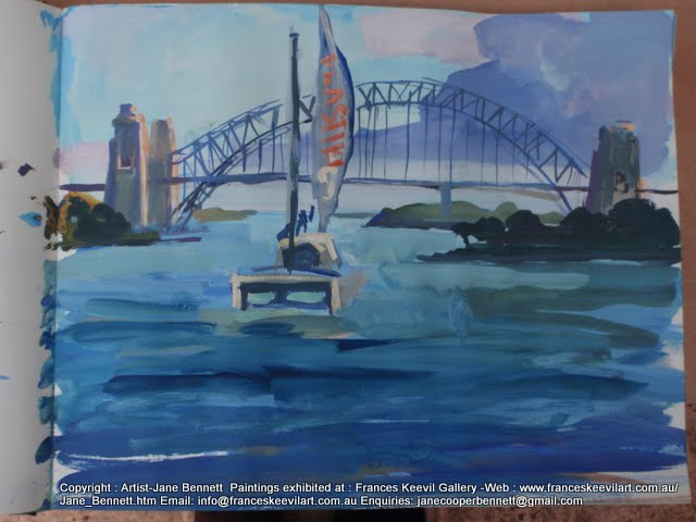 watercolour painting of the 'Plastiki' sailing under the Sydney Harbour Bridge, Sydney Harbour by artist Jane Bennett