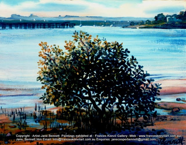 oil painting of jetty and mangroves at the ex gasworks AGL SIte Mortlake, now Breakfast Point by artist Jane Bennett
