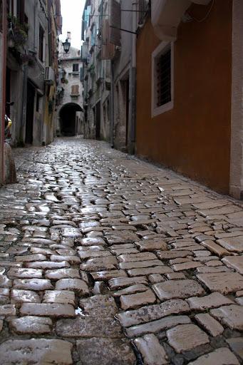 Old town cobblestones, Rovinj, Croatia