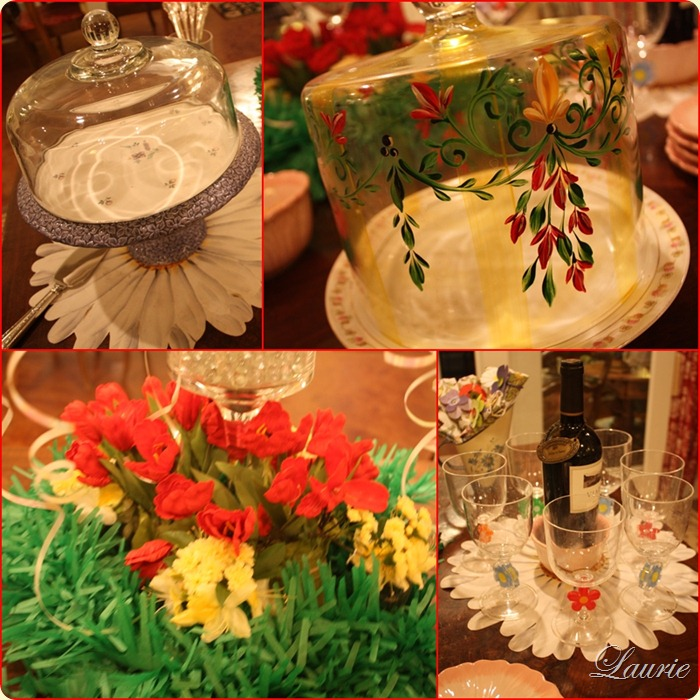 cake cheese srvrs glasses flowers