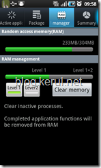 Samsung Galaxy S Froyo update: RAM manager