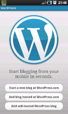 Wordpress mobile app screenshot