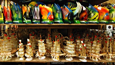 Painted Wooden Fishes and Galleons Made from Seashells at Coron Souvenir Shop