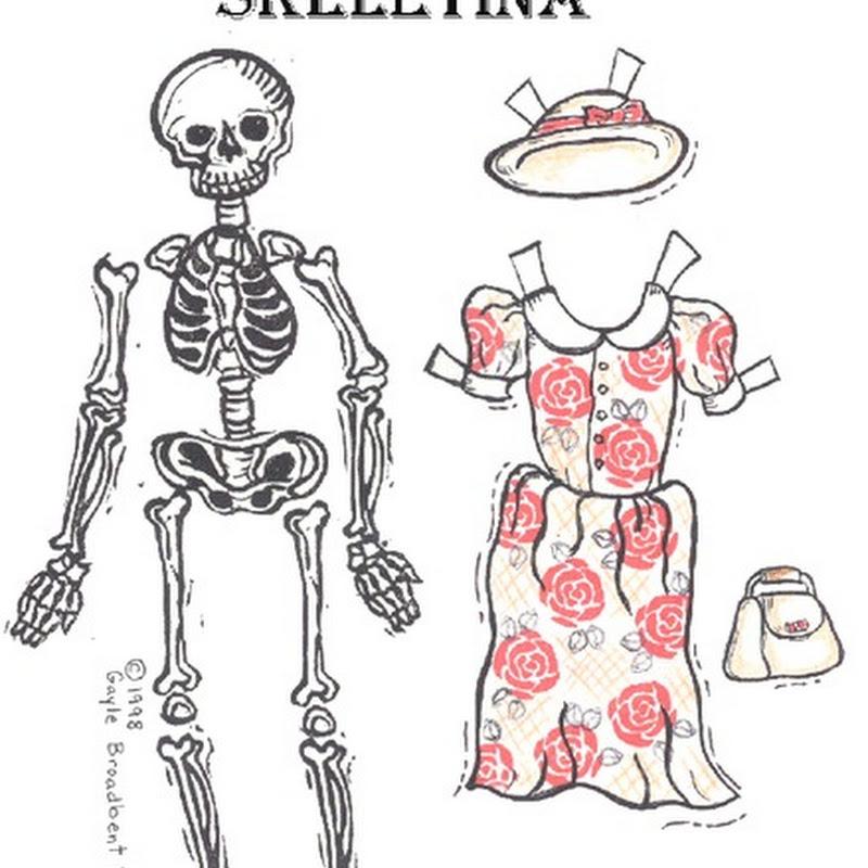 Recortables Halloween Vestir el esqueleto