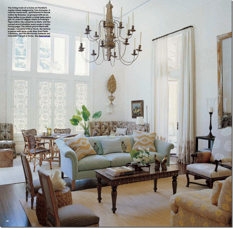 In Florida Tom Scheerer Used Two Stark Rugs An Eclectic Living Room I Love His Choice Of Yellows And Pale Blues Such A Pretty Beach House