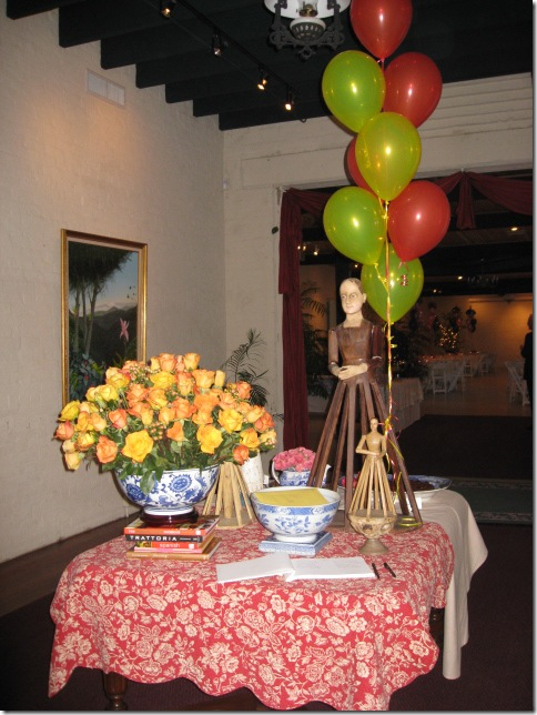 Birthday Party Entry Table with Books & Roses