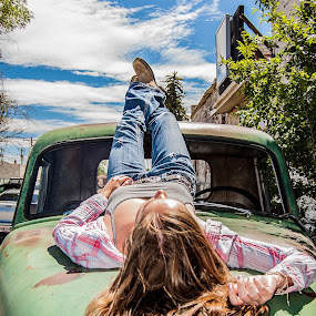 Summer Sun by RaeLynn Petrovich - People Portraits of Women ( relax, truck, woman, long hari, old truck, sunbathing, country,  )