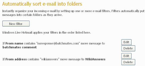 Auto sort Emails to folders - Edit Filters page livemail wave 4