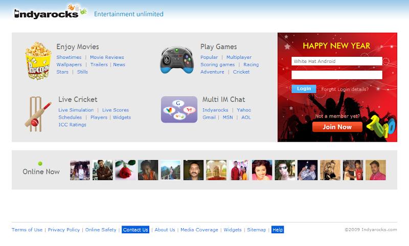 IndyaRocks Welcome Login Page Image | free sms