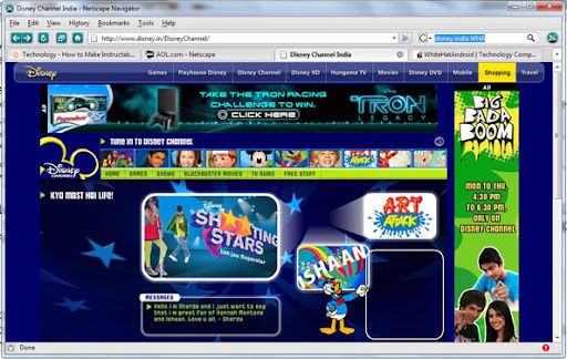 Netscape Navigator Disney Channel, WHA, Facebook