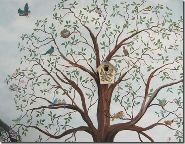 Mural of tree and birds