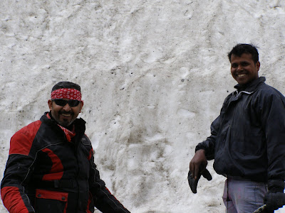 Yours truly and santosh 30 kms short of Baralacha La