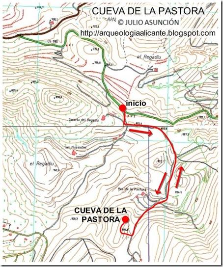 Mapa de la Cueva de la Pastora