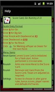 Score Card, Gin Rummy - screenshot thumbnail