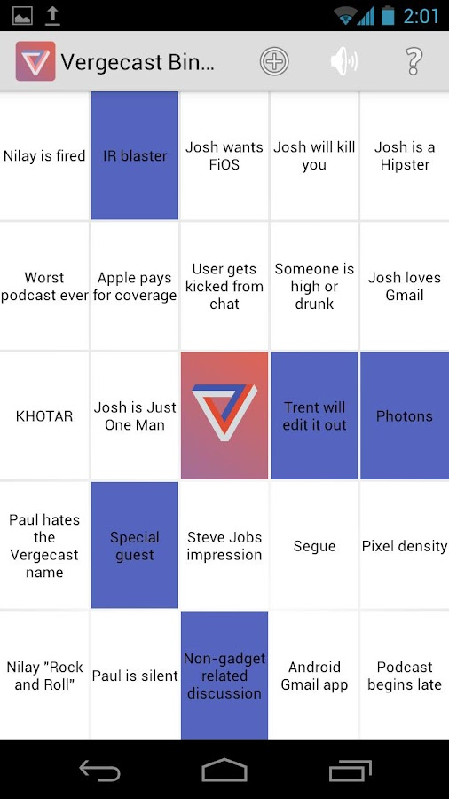 Vergecast Bingo - screenshot