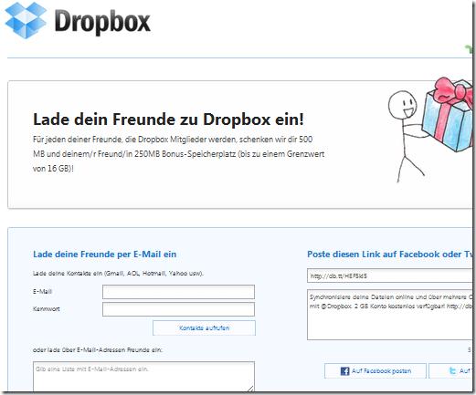 autodesk inventor faq: dropbox: speicherplatz vergrößern [windows, Einladungen