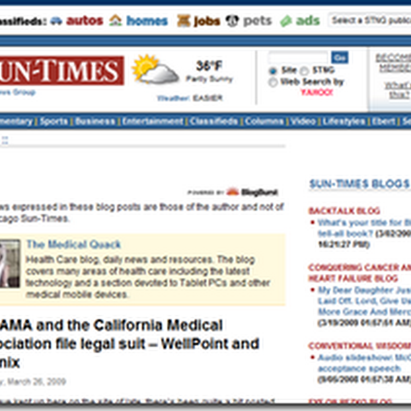 Medical Quack on the Web this week…March 30, 2009