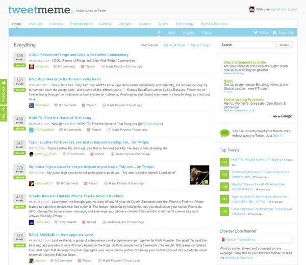 TweetMeme социальная сеть twitter