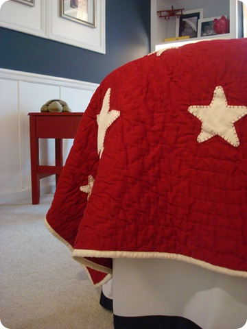 Red quilt white stars Pottery Barn