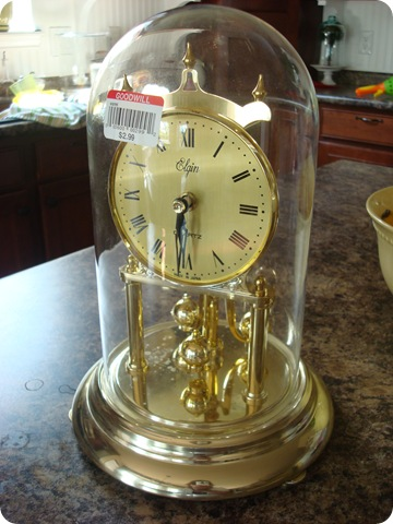 Goodwill brass clock turned into cloche