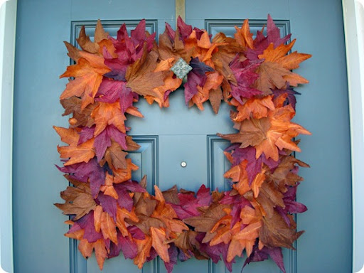 Square dollar store fall wreath
