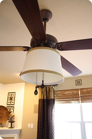 Adding a drum shade to a ceiling fan from thrifty decor chick theres a few things to consider if you want to try this out first of which is your ceiling height the shade hangs lower than the glass shades aloadofball Image collections