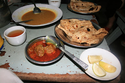 Indian dishes from road side restaurant in Mandalay