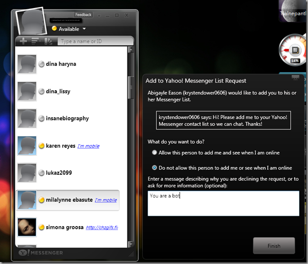 Yahoo Messenger for Vista + a invite notification dialog open
