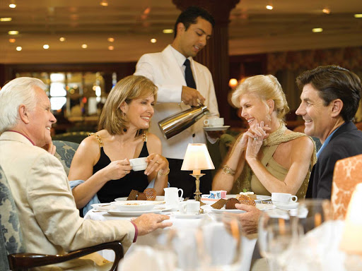 Oceania Nautica's luxurious Grand Dining room is the ideal setting to enjoy the company of new or old friends.