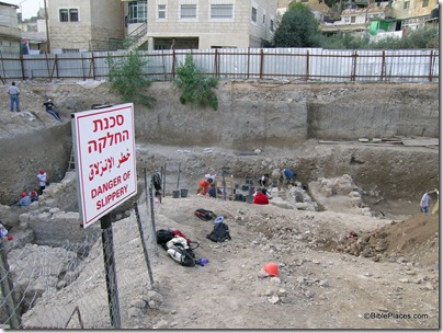 City of David excavation with danger of slippery sign, tb112503932
