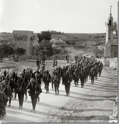 Turkish soldiers marching past American Colony, mat06378
