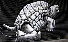 Photograph of the turtle in Phlegm's piece.