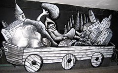 Photograph of a cart in Phlegm's piece.