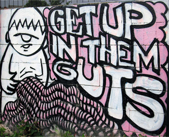 Tag which says Get Up In Them Guts