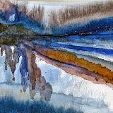 fjord, aquarel