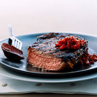 Rib-Eye Steaks with Harissa-Style Relish.