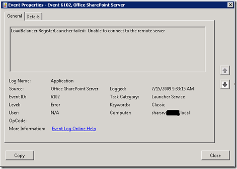 Office SharePoint Server Event ID:6102 Launcher Service