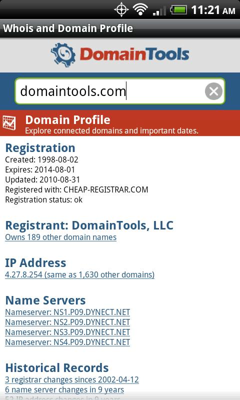 DomainTools Whois Lookup - screenshot