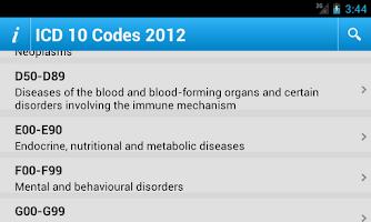Screenshot of ICD 10 Codes 2012 Free