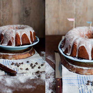 Coconut Chocolate Chip Bundt Cake with Icing.
