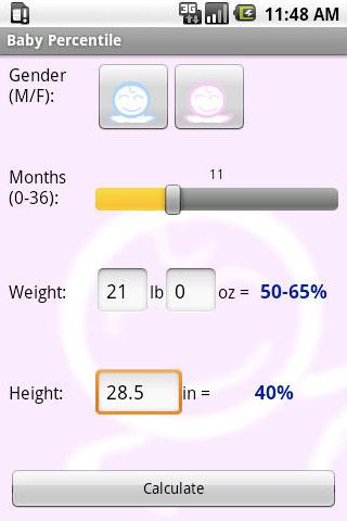 Baby Percentile - screenshot