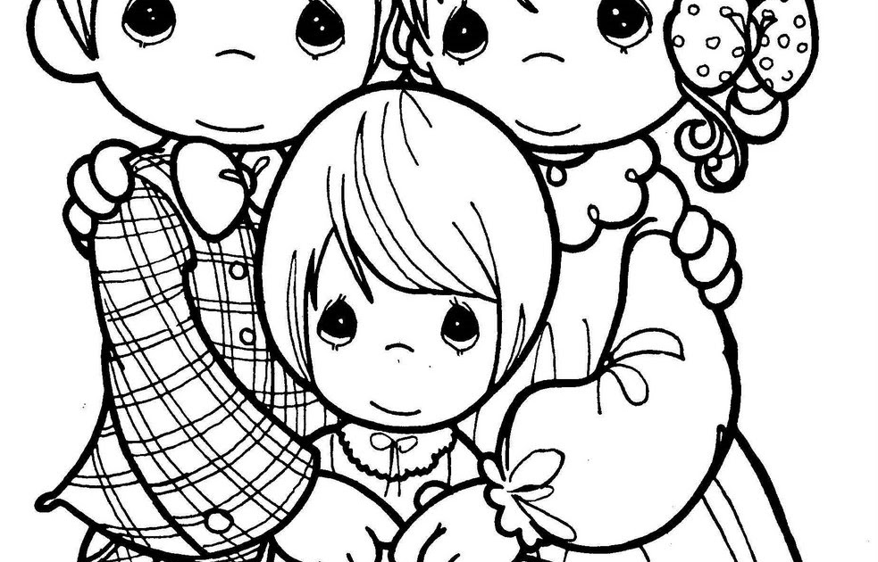 Dibujos De Familia Para Colorear E Imprimir: Pinto Dibujos: Día De La Familia Precious Moments Para