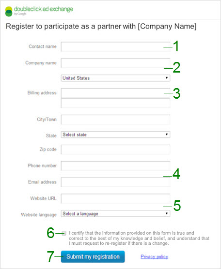 Network partner registration form