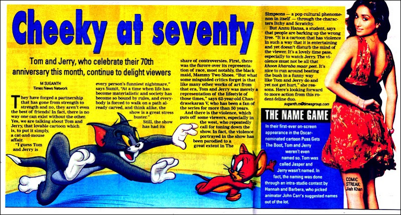 Times Of India Chennai Times Dated 21st Feb 2010 Page 1 Tom n Jerry