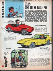 Spirou Dated 28 Nov 1968 Page 4 Fiat Monza Car