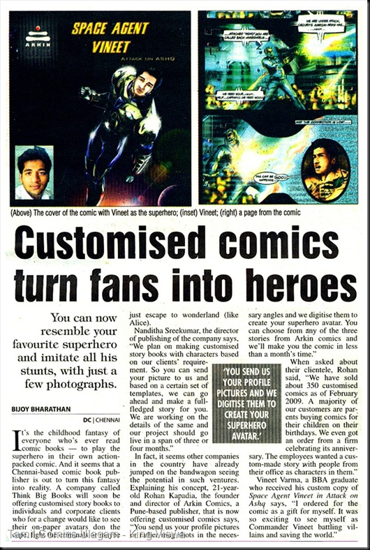 Deccan Chronicle Chennai Chronicle Page 21 Dated 17th Mar 2009 Comic Inspired By Yourself